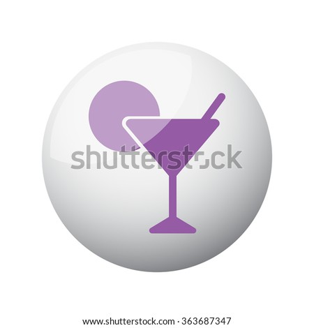 Flat purple Cocktail icon on 3d sphere