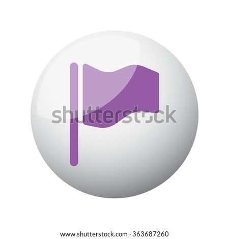 Flat purple Flag icon on 3d sphere - stock vector