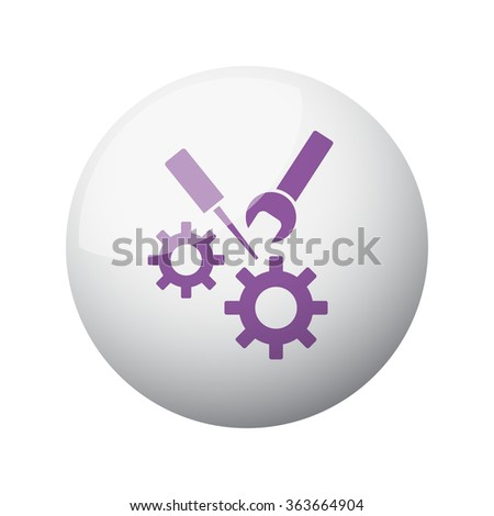 Flat purple Service icon on 3d sphere - stock vector