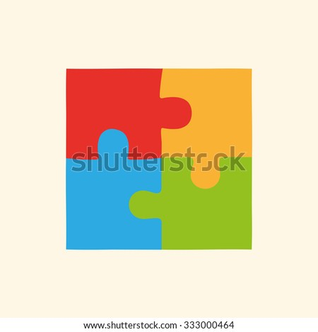 Flat puzzles, logo - stock vector