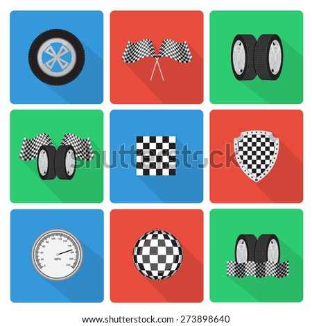 Flat race icons with long shadow. EPS10 vector - stock vector
