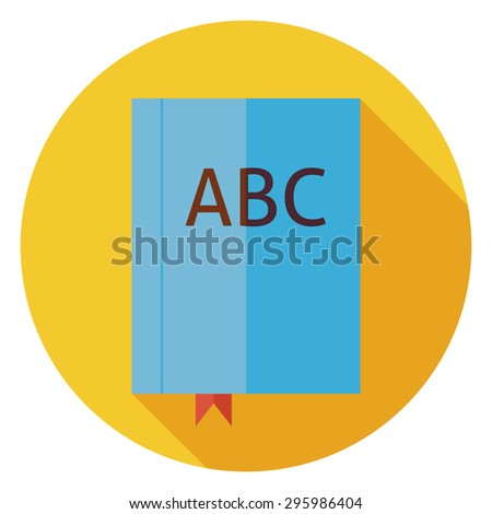 Flat Reading Book ABC with Bookmark. Back to School and Education Vector illustration. Flat Style Colorful Book Circle Icon with Long Shadow. Library and Literature. Book with Bookmark. Grammar Lesson - stock vector