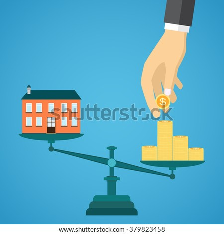 Flat real estate sale concept on the blue background. Scales with the private house and money.