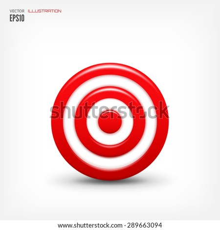 Flat realistic 3d target. Aim, achievement. Winner. - stock vector