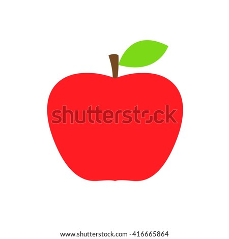 Flat red apple vector