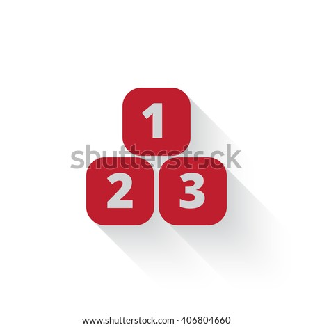 Flat red 123 Blocks web icon with long drop shadow on white - stock vector