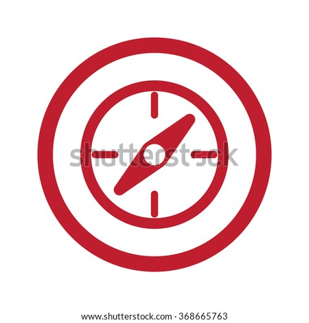 Flat red Compass icon in circle on white