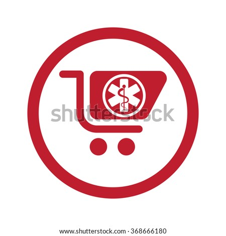 Flat red Pharmacy Store icon in circle on white - stock vector