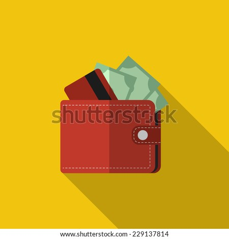 Flat red wallet with card and cash. Vector illustration, icon with long shadow. Modern design - stock vector