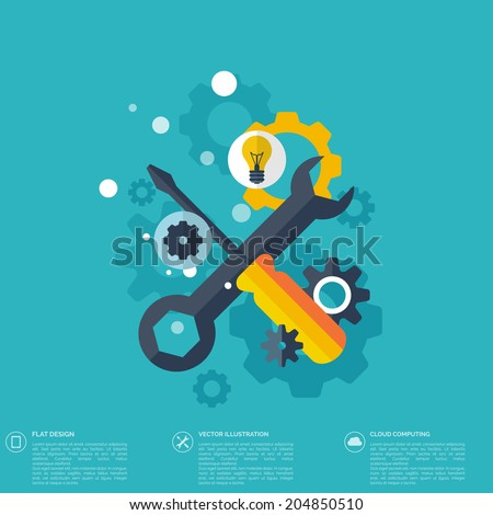 Flat repair icon. Mechanic service concept.  Web site creating. - stock vector