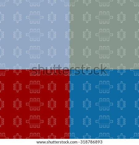 Flat repeating pattern with chair and table signs texture. Seamless modern furniture texture. EPS10 vector illustration