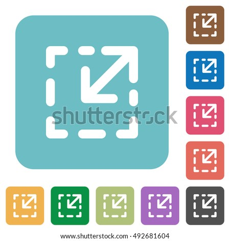 Flat resize element icons on rounded square color backgrounds.