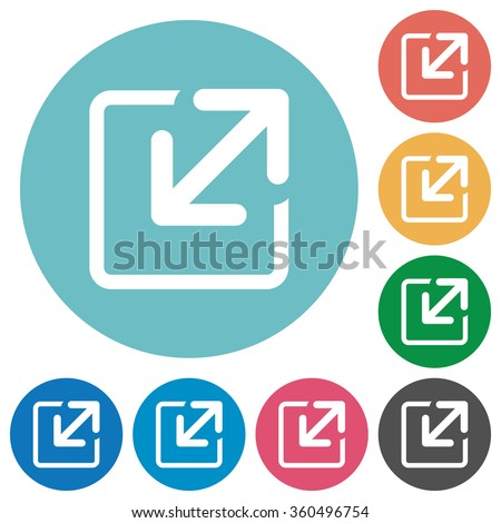 Flat resize icon set on round color background. - stock vector