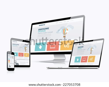 Flat responsive web design concept website development devices - stock vector