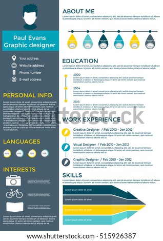 timeline resume template free stock vector flat design set clean format curriculum vitae