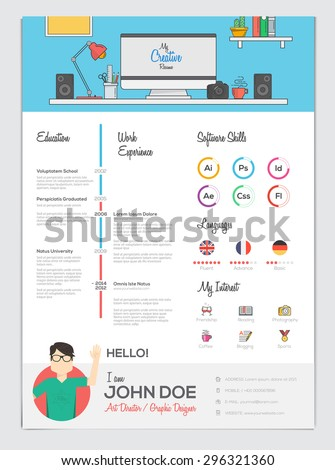 Flat Resume with Infographics. Resume CV set. Vector - stock vector