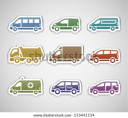 Flat retro color stickers - set five. Vector illustration 10eps - stock vector
