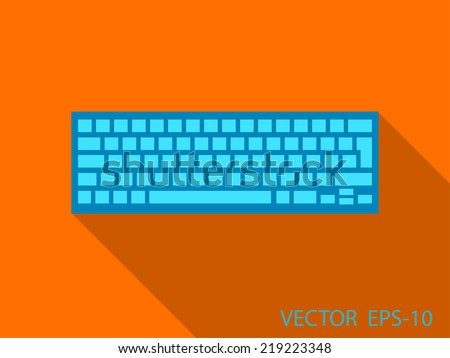 flat retro design keyboard icon with long shadow - stock vector