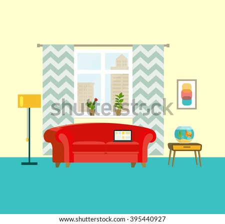 flat retro interior living room with red sofa, window, aquarium with goldfish and houseplant. Urban landscape vector illustration
