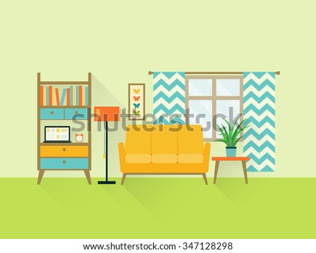 flat retro living room with sofa, window and bookcase. vector illustration - stock vector