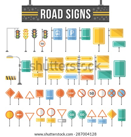 Flat road signs set. Traffic signs graphic elements isolated on white background. Great for infographic, city construction, web. mobile apps. Flat design concepts. Creative vector illustration - stock vector