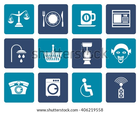 Flat Roadside, hotel and motel services icons  - vector icon set - stock vector