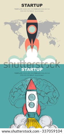 Flat rocket. Project start up.Concepts web banner and printed materials. - stock vector