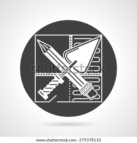 Flat round black vector icon with white contour crossed trowel and spatula on repair plan on gray background. - stock vector