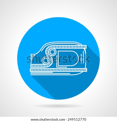 Flat round blue vector icon with white contour ascent device on gray background. Long shadow design - stock vector