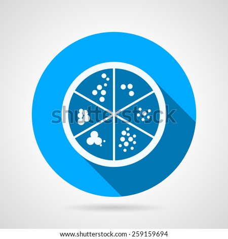 Flat round blue vector icon with white silhouette Petri dish with bacteria culture on gray background. Long shadow design  - stock vector