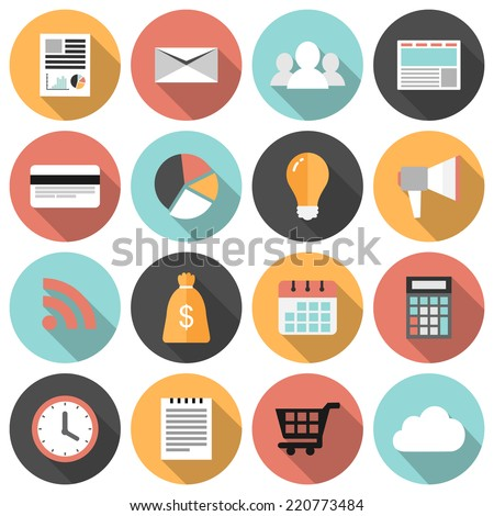 Flat round business and marketing web icons set with long shadows  - stock vector