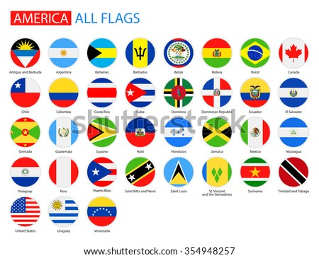 Flat Round Flags of America - Full Vector Collection Vector Set of American Flag Icons: North America, Central America, South America