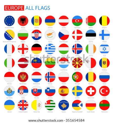Flat Round Flags of Europe - Full Vector Collection