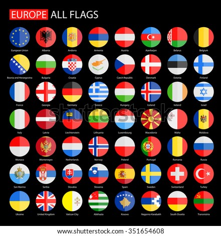 Flat Round Flags of Europe on Black Background - Full Vector Collection