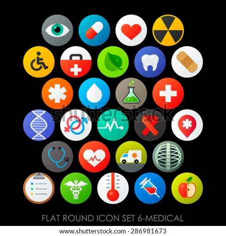 Flat round icon set 6-medical