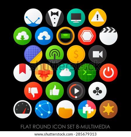 Flat round icon set 8-multimedia