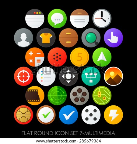 Flat round icon set 7-multimedia - stock vector