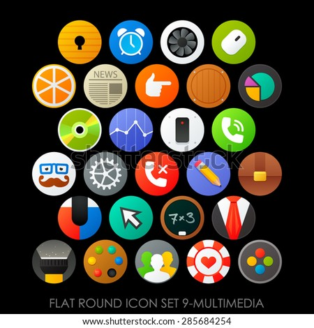 Flat round icon set 9-multimedia - stock vector