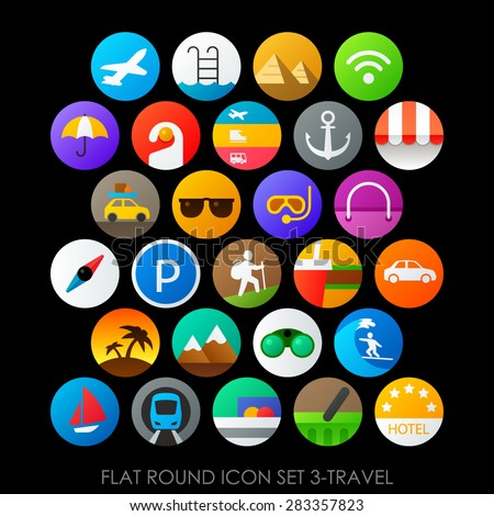 Flat round icon set 3-travel