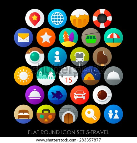 Flat round icon set 5-travel