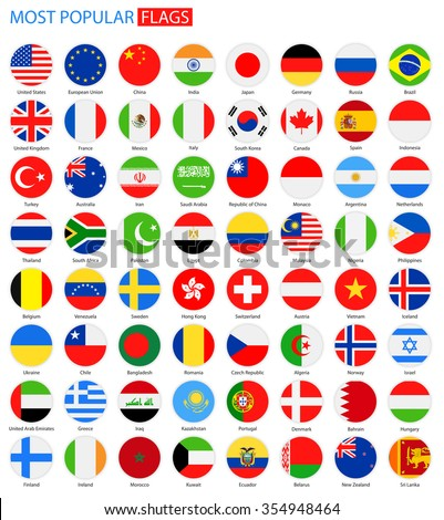 Flat Round Most Popular Flags - Vector Collection Vector Set of National Flag Icons  - stock vector