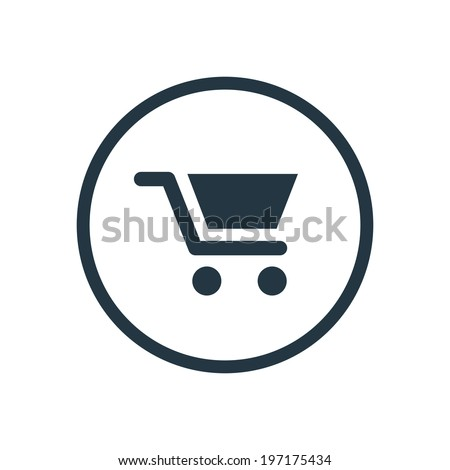 flat round shopping cart icon - stock vector
