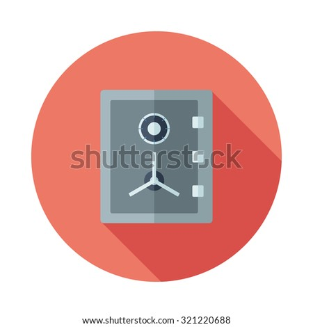 Flat safe Icon With Long Shadow - stock vector