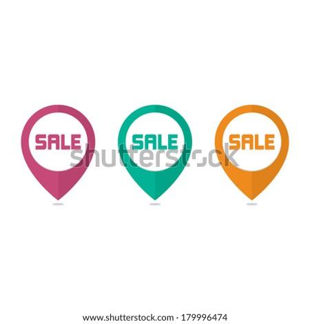 Flat Sale Pins - stock vector