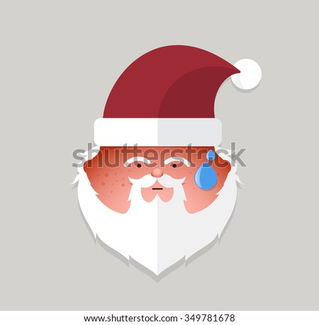 Flat santa claus tried emoticon. vector illustration.