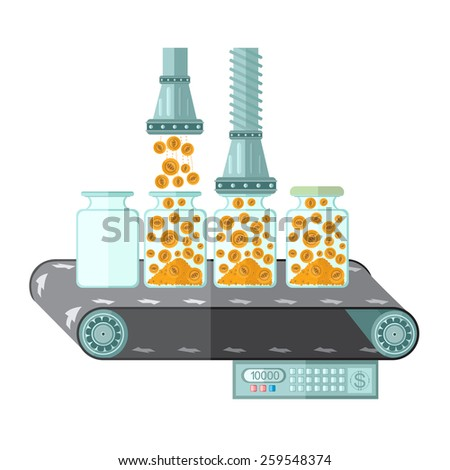 flat saving coin gold machine.Machine for closing of money in the bank.concept illustration - stock vector