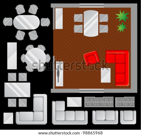 Flat scheme with furniture, view from above, dining room - stock vector