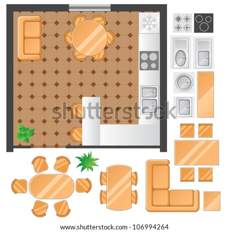 Flat scheme with furniture, view from above, kitchen and dining room - stock vector
