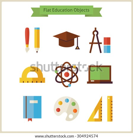 Flat School and Education Objects Set. Vector Illustration. Collection of Knowledge Objects Isolated over white. Science and Learning. Back to School Concept  - stock vector
