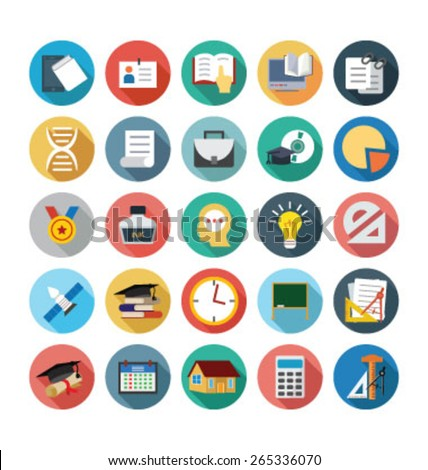 Flat School and Education Vector Icons - Vol 4 - stock vector